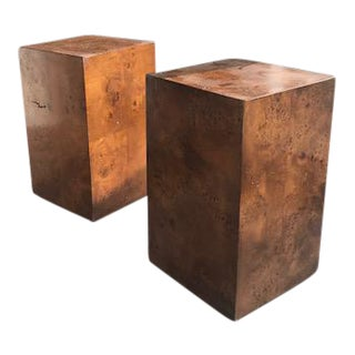Vintage Burlwood Accent Tables - a Pair