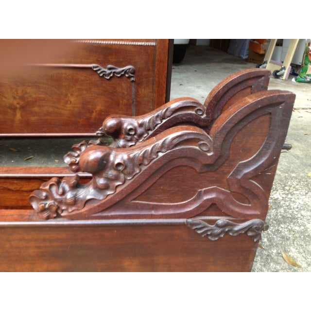 Antique Rosewood Full Bed - Image 7 of 11
