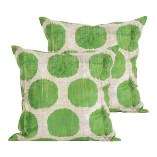 Green and Beige Silk Velvet Accent Pillows - Set of 2 For Sale