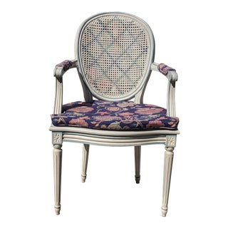 Louis XVI Style Oval Back Caned Chair For Sale