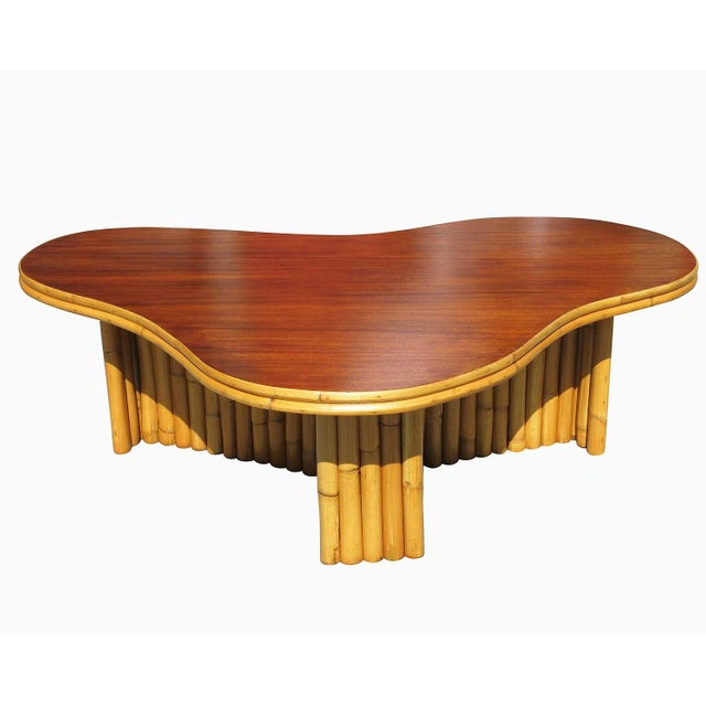 Biomorphic Amoeba Rattan & Mahogany Coffee Table - Image 2 of 6