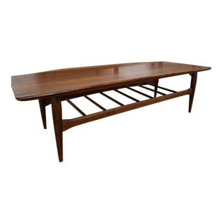 1960s Mid Century Modern Bassett Surfboard Style Walnut Coffee/End Table Set - 3 Pieces For Sale