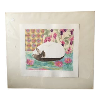 Original Watercolor Painting of a Cat Signed Meg Dawson 1983 For Sale