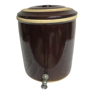 Roseville Brown Stoneware Pottery Beverage Dispenser For Sale