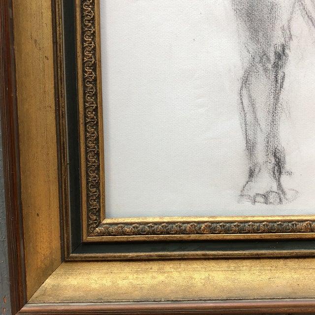 Figurative Original Vintage Female Nude Charcoal Sketch For Sale - Image 3 of 7