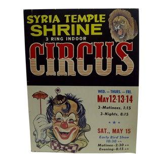Circa 1960 Syria Temple Shrine 3-Ring Indoor Circus Poster