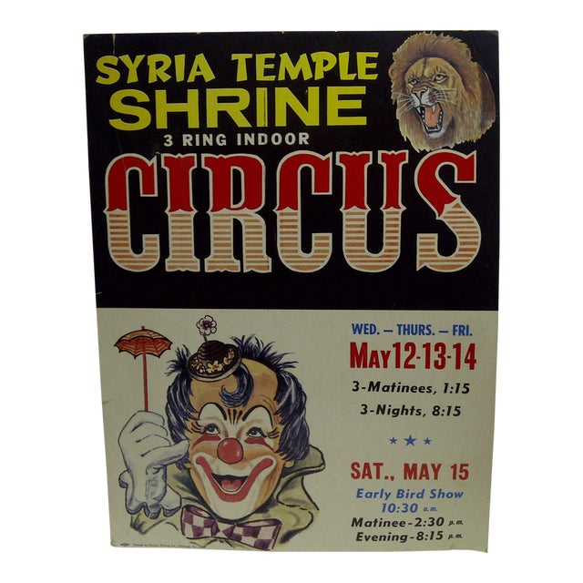 Circa 1960 Syria Temple Shrine 3-Ring Indoor Circus Poster For Sale