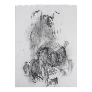 """20th C. Modernist """"Poodle Dogs"""" Charcoal Sketch in the Manner of Arbit Blatas For Sale"""