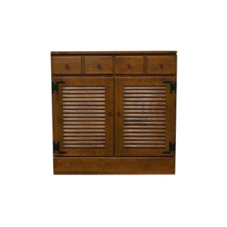 20th Century Early American Ethan Allen Heirloom Nutmeg Maple Crp Shutter Door Cabinet For Sale