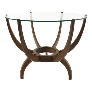 Mid-Century Modern Style Arteriors Oswald Walnut and Glass Tripod Leg End Table For Sale