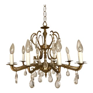 Mid-Century Ornate Metal and Crystal 10-Arm Chandelier For Sale