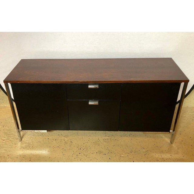 French Midcentury Chrome Rosewood and Ebony File Cabinet or Server by Milo Baughman For Sale - Image 3 of 11