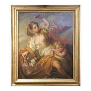 Allegorical Nymph and Cherub Painting, Early 19th Century For Sale