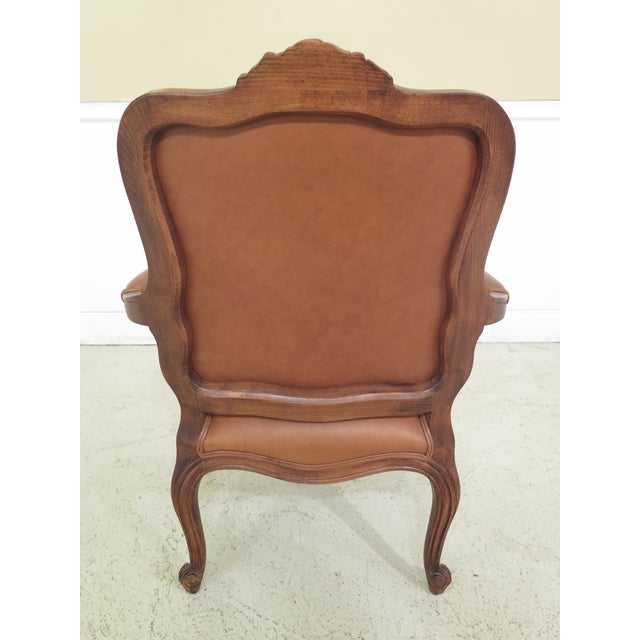 Brown 1990s Vintage Ethan Allen French Louis XV Style Leather Arm Chair For Sale - Image 8 of 10