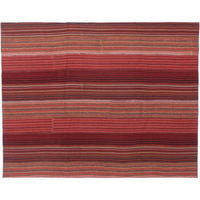 Mid 20th Century 1960s Vintage Turkish Jajim Kilim Flat-Weave Rug - 8′4″ × 10′7″ For Sale - Image 5 of 6