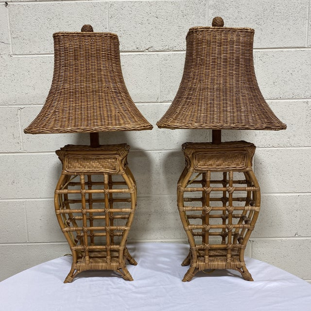 Asian Style Wicker Lamps - Pair For Sale - Image 13 of 13