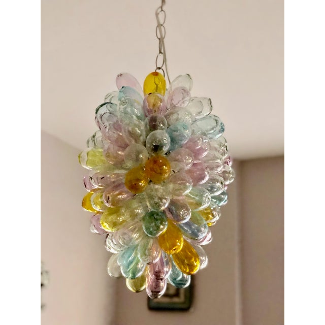 Soft Candy Colored Balloon Shape Light Fixture of Recycled Handblown Glass For Sale In Los Angeles - Image 6 of 12