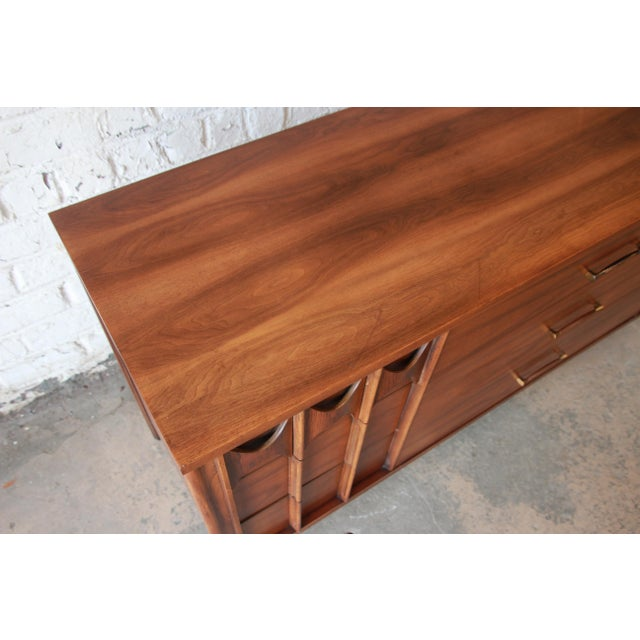 Rosewood Kent Coffey Perspecta Sculpted Walnut and Rosewood Triple Dresser or Credenza For Sale - Image 7 of 11