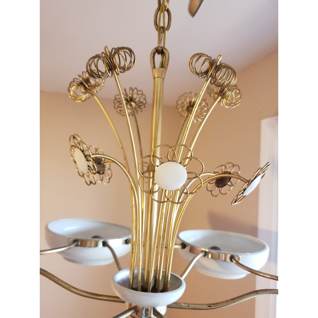 Brass 1950s Mid-Century Modern Lightolier Chandelier After Paavo Tynell For Sale - Image 7 of 13