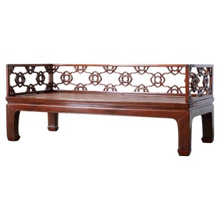 Chinese Ming Style Carved Daybed With Grasscloth For Sale
