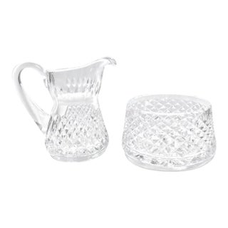 1950s Waterford Crystal Cream & Sugar Bowl in Alana Pattern - a Pair For Sale