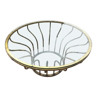 Hollywood Regency Gilt Metal and Glass Coffee Table