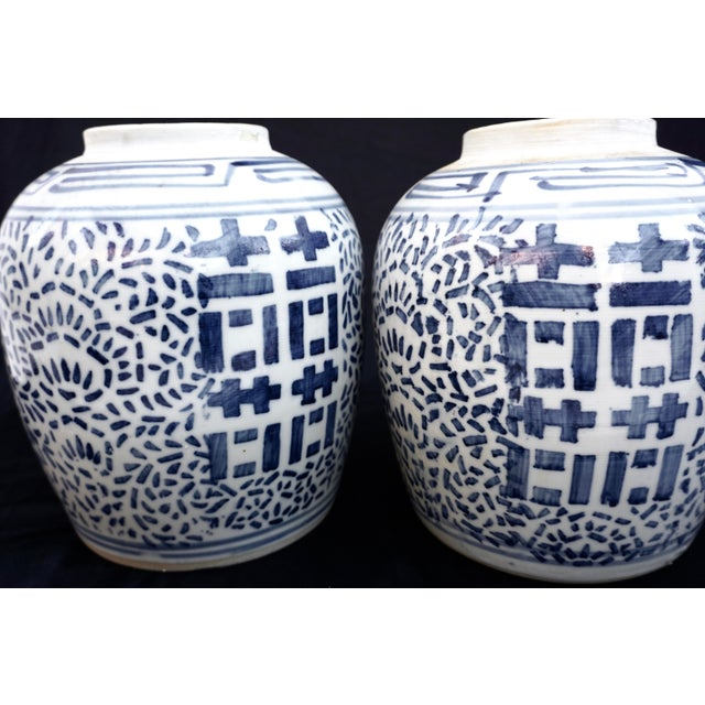 Early 20th Century Antique Kangxi Period Chinese Blue & White Porcelain Ginger Jars- a Pair || Double Ring Marked For Sale - Image 5 of 11