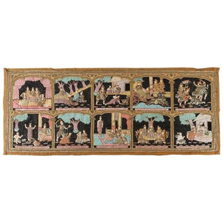 Mid Century Vintage Burmese Kalaga Beads Embroidered Tapestry For Sale