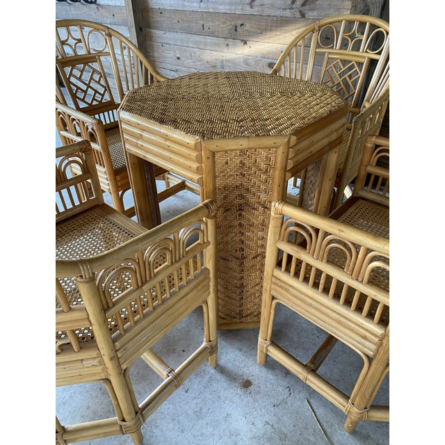 Vintage Brighton Pavilion Style Bamboo and Wicker Weave Table Four Chairs For Sale - Image 9 of 13