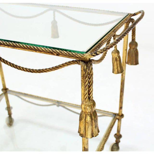 Midcentury Italian Gilt Metal Rope and Tassel Bar or Tea Cart For Sale - Image 4 of 10