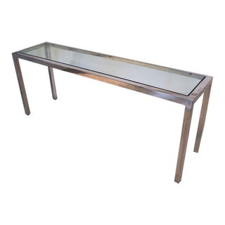 Milo Baughman Chrome Glass Console Table Mid Century Modern For Sale