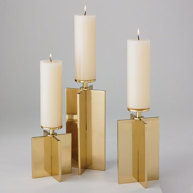 Modern Global Views Brass Axis Candleholder For Sale - Image 3 of 4