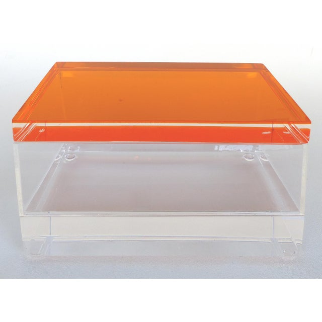 Mid-Century Modern Custom Lucite Box With Orange Lucite Top For Sale - Image 3 of 6