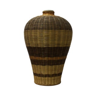 Chinese Woven Rattan Covered Porcelain Vase For Sale