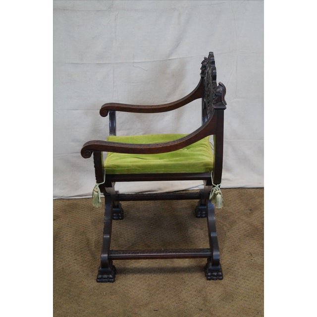 19th Century Oak Renaissance Savonarola Arm Chair - Image 8 of 10