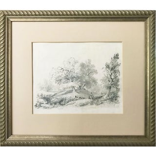 19th Century European Landscape Pencil Drawing For Sale