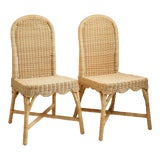 Image of Linton Scalloped Rattan Side Chairs, Set of 2 For Sale
