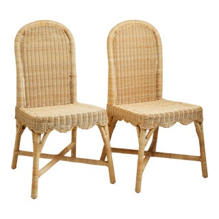 Linton Scalloped Rattan Side Chairs, Set of 2 For Sale