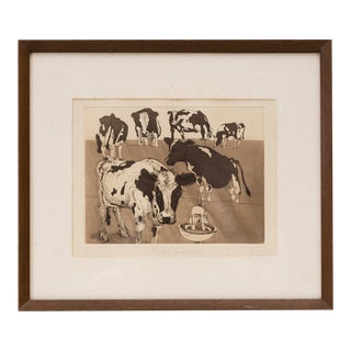 """Original Etching Framed Print """"Herbie Cone's Cows"""" For Sale"""