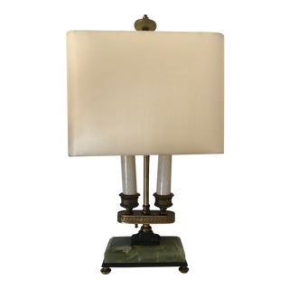 Antique Lamp With Green Onyx Base and Shade For Sale