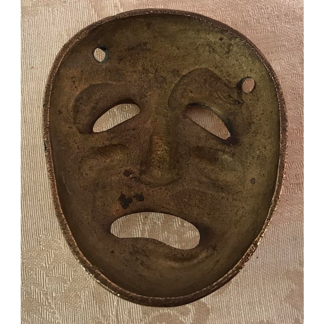 Mid-Century Modern Brass Tragedy Mask - Image 9 of 9
