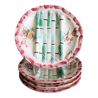 Antique French Longchamp Majolica Asparagus Plates - Set of 4 For Sale