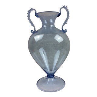 1960s Blue Blown Glass Handled Vase For Sale
