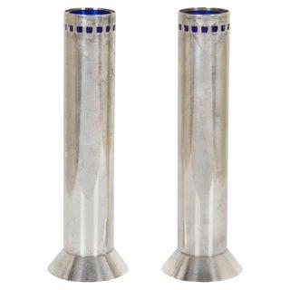 1980s Contemporary Richard Meier Silver Skyscraper Bud Vases - Set of 2