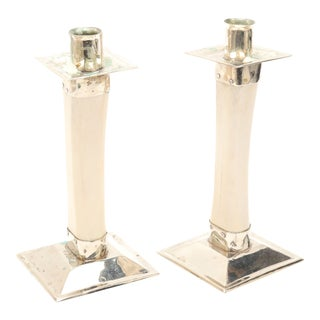 Modern Bone Candlesticks With Chrome Mounts - a Pair For Sale