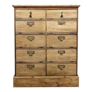 Mid-Century French Stripped Oak File Cabinet For Sale