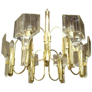 Vintage 1960s Six-Light Glass and Brass Chandelier For Sale