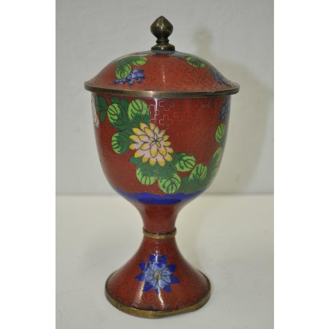 Vintage Red Cloisonne Urn with Lid - Image 3 of 6