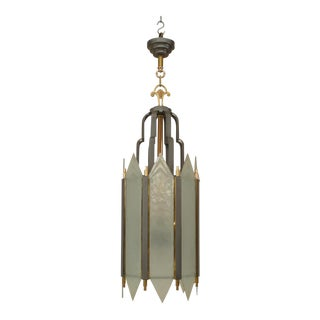 American Art Deco Iron Cylindrical Form Lantern For Sale