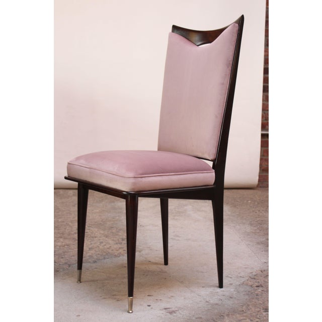 Set of Six Mid-Century Italian Dining Chairs With Nickel Sabots For Sale In New York - Image 6 of 13